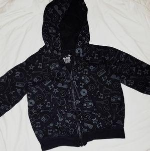 🤑5/$25 Okie Dokie black graphic full zip hoodie